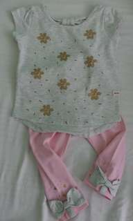 Moose Girl Blouse & Leggings Set Size Small 18-24 months