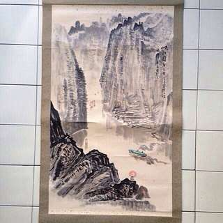 90s Chinese Painting Mountain And Water Size 97x60cm Perfect