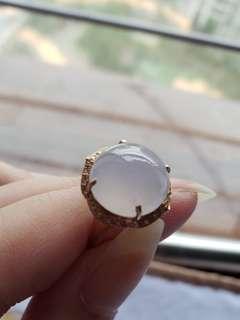 18k金鑲紫羅蘭春粉圓介面,祼石約11.5mm厚6mm