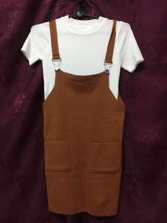 Brown Pinafore with white top
