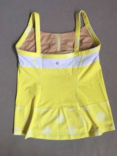 Lulu Lemon White & Yellow Sleeveless Top