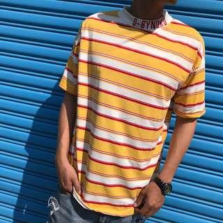 🚚 2031 條紋 脖圍刺繡 綠黃短袖