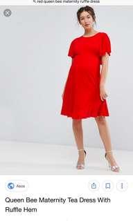 Asos maternity dress with ruffled hem uk10