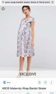 ASOS maternity dress with floral prints uk10