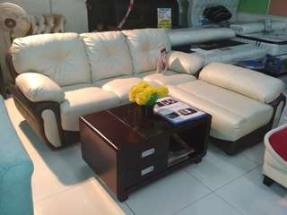 Sofa L boxer + meja kayu