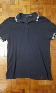 Baleno Mens Polo Shirt Medium Navy Blue Collared Cotton