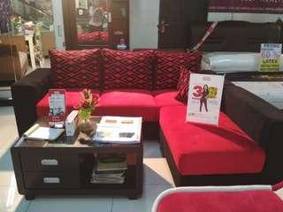 Sofa L putus + meja kayu