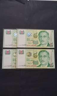 尤索$5 李显龙签名 2对同号