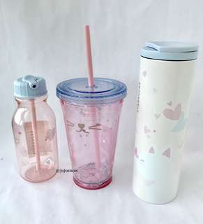Pretty Starbucks Korea Cat Love Bottle, Cold Cup and Troy Tumbler
