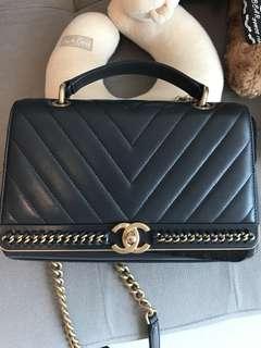 Chanel navy blue medium 25cm flap bag