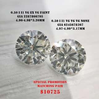 總重 1卡 配對鑽石 每邊50份 GIA鑽石