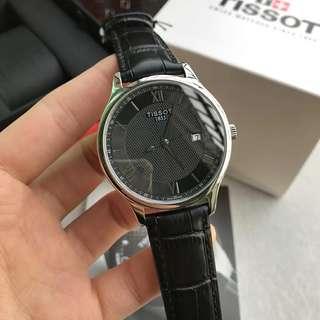 🔥正品Tissot天梭官方正品俊雅簡約商務休閒時尚潮流石英皮帶手錶男T063。尺寸42mm圓形鋼帶超薄男錶