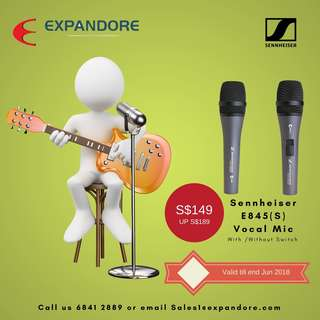 Sennheriser E845 / E845S Vocal Microphones - Karaoke, Sing along, Price valid till end Jun