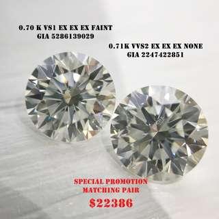總重1卡41。配對鑽石 每邊70份 GIA鑽石