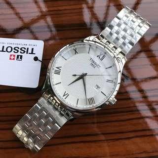 正品Tissot天梭官方正品俊雅簡約商務休閒時尚潮流石英鋼帶手錶男T063。尺寸42mm圓形鋼帶超薄男錶。夏天必備