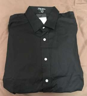 Zalora Black Long Sleeve Shirt