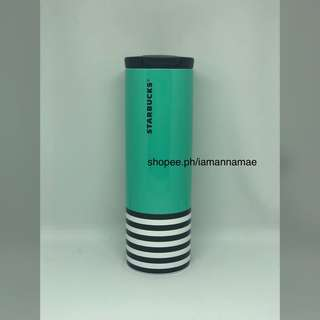 Starbucks Green and Black Stripe Stainless Steel Tumbler