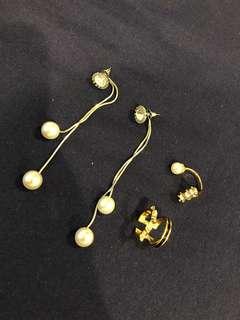 🚚 垂墜珍珠耳環*1+造型指戒*2
