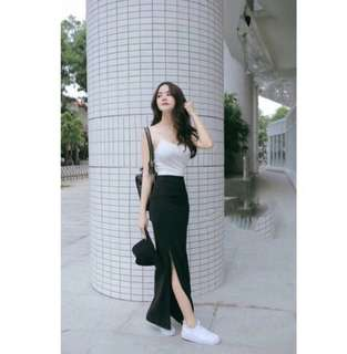Korean long skirt with terno top