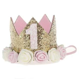 🚚 Instock - 1st gold birthday hat, baby infant toddler girl children cute glad 123456789 lalalala