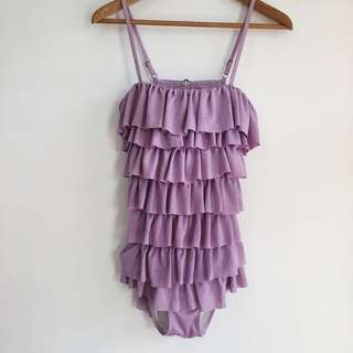 Lavender One Piece Ruffled Swimsuit