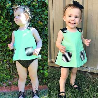 🚚 Instock - Mint Casual tunic, baby infant toddler girl children cute glad 123456789 lalalalala so pretty