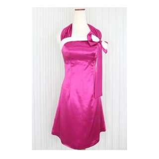 Midi dress/Gaun pesta Warna Pink Fuchia kode 10531