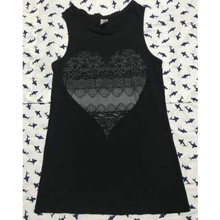 Sleeveless Top (Printed Heart)
