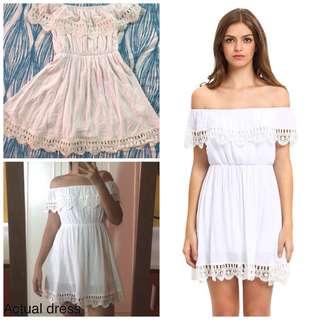 White Off-shoulder Laced Dress