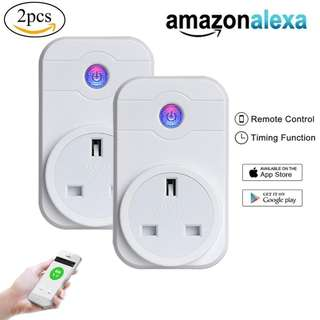 514.Smart Plug,  2 Pack WiFi Plug Remote Control Plug Timer Socket Compatible with Alexa Echo for IPhone IPad Android, WiFi Socket Wireless Outlet Remote Control Timer Switch