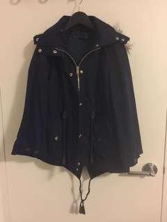 Zara navy hooped parka coat