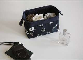 Navy Floral Makeup Cosmetics Toiletries Pouch