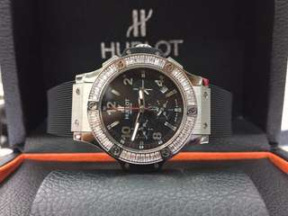 Hublot Big Bang Black Silver Diamond Ladies (Sm Freepostage)
