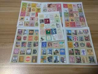 Unique vintage stickers (postage stamp design)