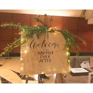 Wedding decor welcome wooden sign broad