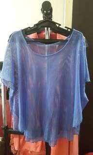 Blue mesh beach coverup