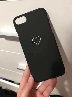 Matte black heart iphone 7 hard case