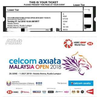 Badminton Malaysia Open Final Ticket