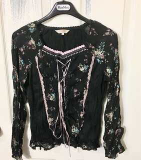 Floral Blouse with Lace