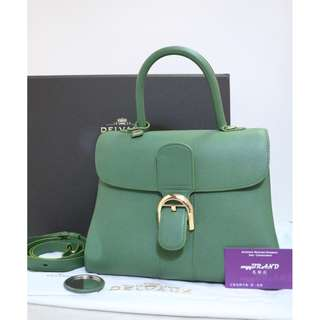 95% New DELVAUX Brillant MM 綠色 牛皮 Green Calf Leather Handbag 手提袋 肩背袋 手袋