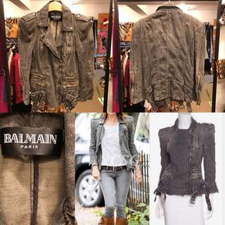 Balmain gray denim jacket size 38
