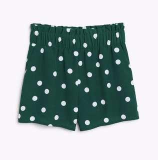 Monki green polka dot shorts