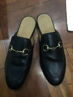 Preowned Gucci Princetown Horsebit Detailed Leather Slippers 36