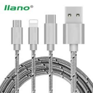 517.  3 in 1 USB Data Cable for iPhone Type C Micro USB Nylon Braid