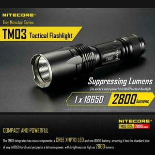 (FREE Delivery) Nitecore TM03 Powerful Tactical Flashlight - 2,800 Lumens