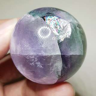 """Genius Stone"" Purple Green Rainbow Fluorite ball / sphere with Rainbows!!"