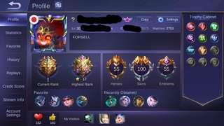 ML account 100skin +18k diamond include legend skin