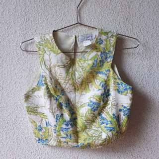 JUST G FLORAL STRUCTURED CROP TOP