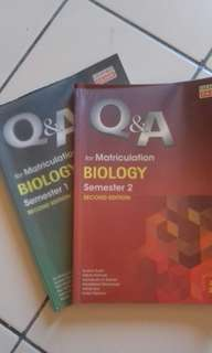 Q&A for Matriculation Biology (semester 1 and 2)