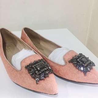 Vanilla Suite genuine leather flats w/ Gem embellishment